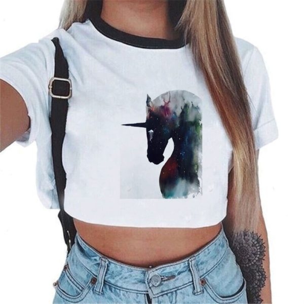 Tshirt Été fille femme girl women summer wear clothing animal animaux unicorn fille girl mignon cute Kawaii meilleur best site boutique shop tableau art artiste peinture canvas service3d 2019