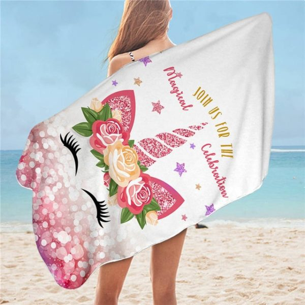 Serviette Design de bain Swim beach towel Licornes plage beach swimming pool fille femme girl women summer unicorn fille girl mignon cute Kawaii meilleur best site boutique shop 2019