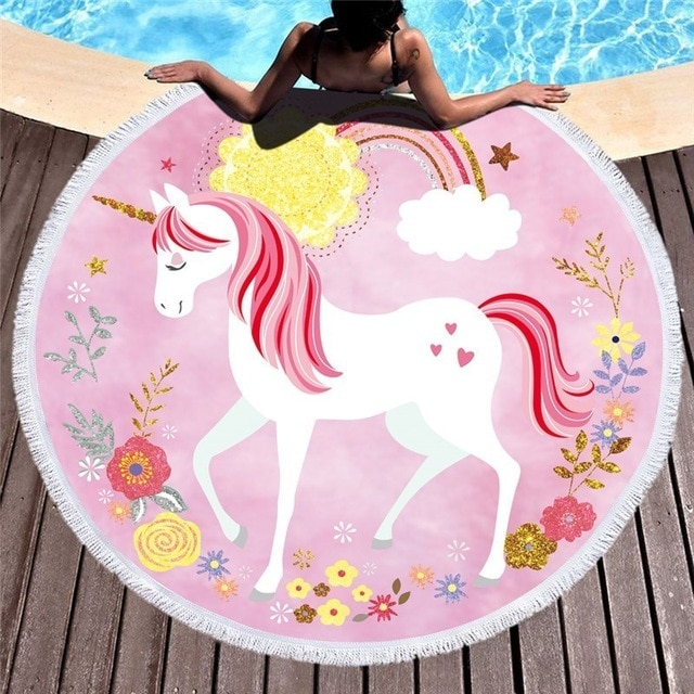 Serviettes de plage Swim beach towel Licornes plage beach swimming pool fille femme girl women summer unicorn fille girl mignon cute Kawaii meilleur best site boutique shop 2019