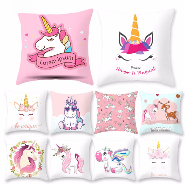 Coussin Oreiller Pillow Cushion arc-en-ciel rainbow licorne fille femme girl women summer unicorn fille girl mignon cute Kawaii meilleur best site boutique shop 2020