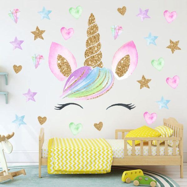 Autocollant Mural wall sticker home deco maison chambre fille femme girl women summer unicorn fille girl mignon cute Kawaii meilleur best site boutique shop 2020