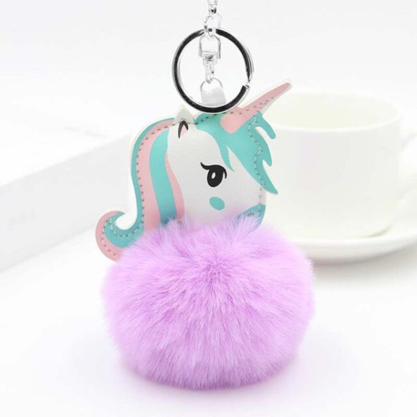 Porte-Clés keychain Pompon fourrure fur cadeau gift femme women summer unicorn fille girl mignon cute Kawaii meilleur best site boutique shop 2020